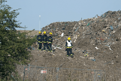 Fire fighters investigate Waste4Fuel's south London site which had repeatedly caught fire (photograph: NS Martin)