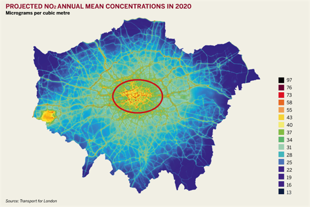 Figure: Projected NO2 annual mean concentrations in 2020
