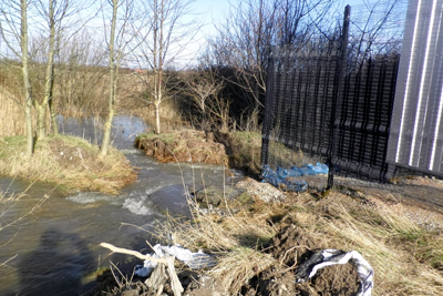 A broken pipe led to sewage spilling into the river Conwy and the sea (photograph: Natural Resources Wales)