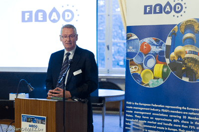 FEAD president David Palmer-Jones speaking at launch of its circular economy strategy earlier this year (photo: Environmental Services Association)