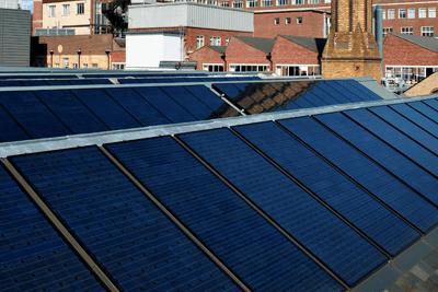 A 74kW solar array on roof of Cambridge University's engineering department (photograph: Viridian Solar)