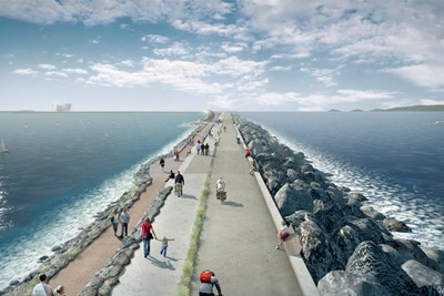 Plans for a tidal lagoon in Swansea Bay include a 4km long, 12-metre-high wall (image: Tidal Lagoon Power)