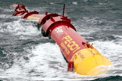 Pelamis's P2 wave energy device at a test site in the Orkneys (photograph: EMEC)