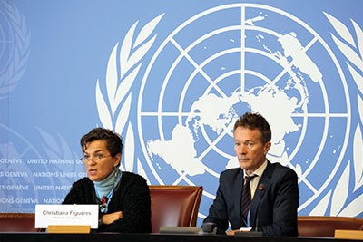 UN Framwork Convention on Climate Change executive secretary Christina Figueres briefs the press on the closing day of the Geneva conference (photograph: UN)