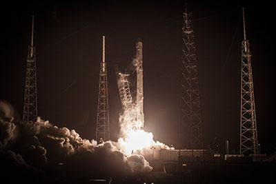 SpaceX's Falcon 9 rocket blasts off: one aim of its recent missions to return a section of the spacecraft to Earth intact for reuse (photograph: SpaceX)