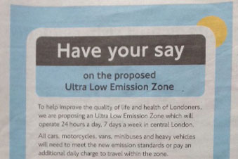 TfL have been told its newspaper advert was 'misleading' (photo: Simon Birkett/Clean Air London)