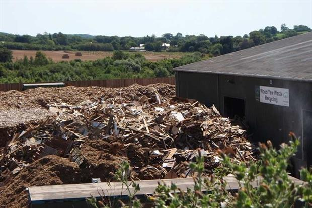 Wood Yew Waste's wood chipping site in Woodbury Salterton, near Exeter (photograph: Environment Agency)