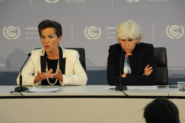 UN climate chief Figueres and French climate ambassador Tubiana pointed to progress at Bonn (photograph: UNFCCC)