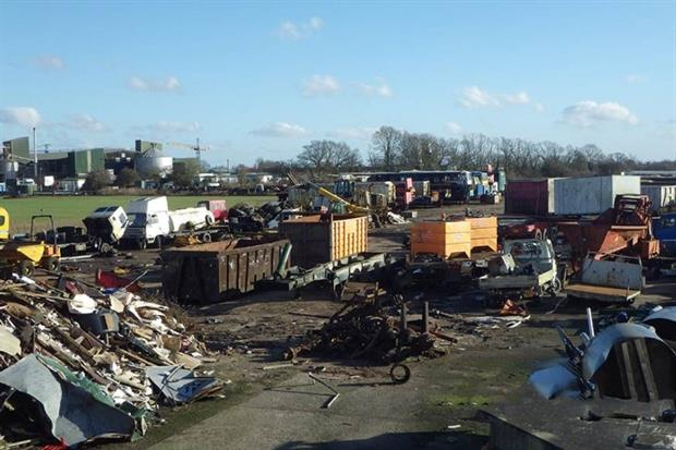 A company and its director have been prosecuted for storing scrap vehicles without the required permit at Shipdham airfield (photograph: Environment Agency)