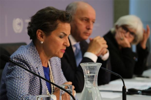 UN climate head Christiana Figueres and French foreign minister Laurent Fabius face an uphill battle ensuring delegates at the Paris summit have a workable negotiation text (photograph: UNFCCC)