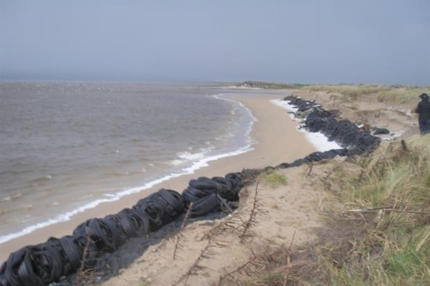 Around 20,000 waste tyres were used as flood defences in Lough Foyle. Photograph: Northern Ireland Environment Agency