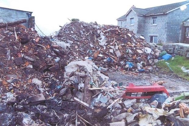 About 2,000 tonnes of mixed waste were kept at an unpermitted site in Ballynahinch. Photograph: Northern Ireland Environment Agency