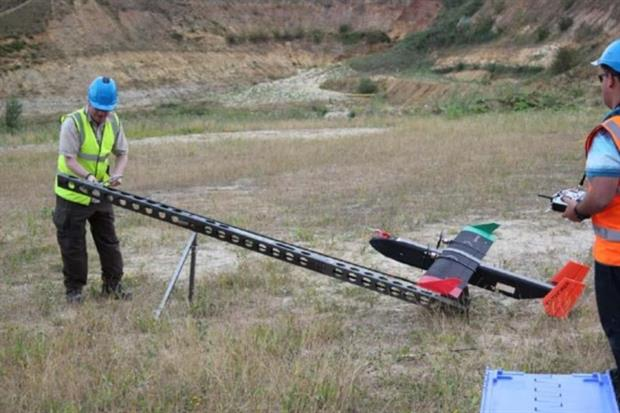 Fixed wing drones could be a cheap and effective method of monitoring methane from landfills. Photograph: The Environment Agency