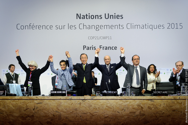 Final adoption of the historic Paris Agreement was greeted by rapturous applause for the Comité de Paris. Photo: UNFCCC
