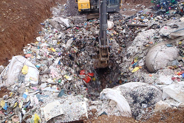 Some 280 tonnes of potentially recyclable plastic waste was found at the site. Photograph: DOENI