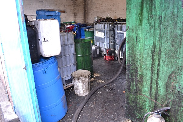 The illegal waste oil storage unit. Photograph: Environment Agency