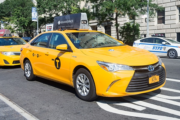 The report backs low-emission taxis, such as this hybrid-engined vehicle in New York. Photograph: Karel Miragaya/123RF