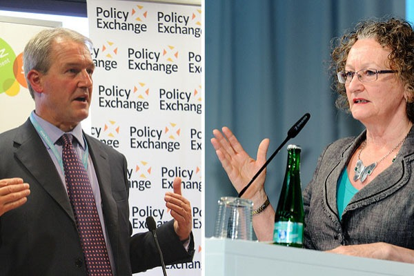 Owen Paterson and Jenny Jones both favour leaving the EU. (photos: Heinrich-Böll-Stiftung & Policy Exchange CC BY-SA 2.0)