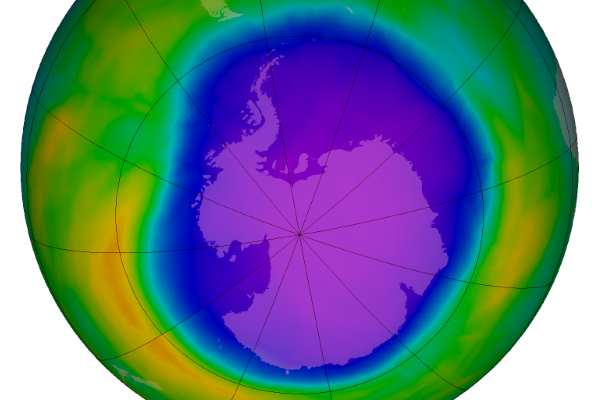 Ozone depletion over Antarctica reached a record in October 2015, but this was caused by a volcano rather than by man. Image: NASA