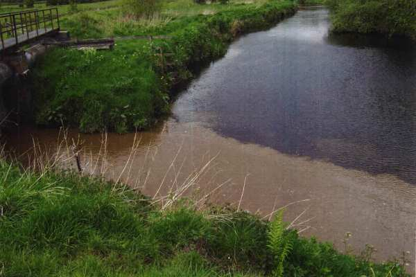 Members of the public complained about discolouration of Caaf Water at its confluence with the River Garnock. Photo: SEPA