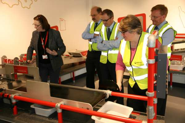 Second from left - Sir Mark Walport, Ian Boyd and Thérèse Coffey at Veolia's facility in Southwark. Photograph: DEFRA