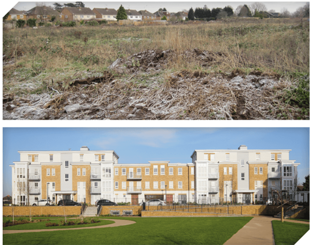 The Blackamoor Lane landfill site, which was heavily contaminated before remediation (above), now contains more than 400 new homes (below). Photographs: RSK