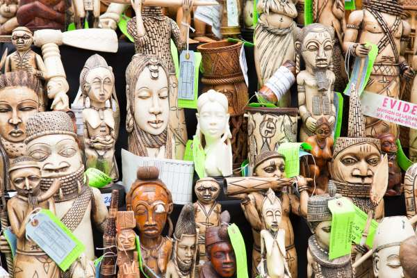 Ivory carvings prior to being publicly destroyed in New York's Times Square in 2015. Photograph: U.S. Fish and Wildlife Service