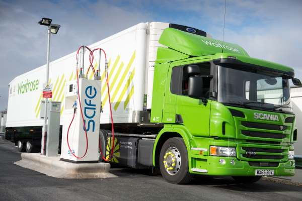 The UK's first high-pressure compressed natural gas filling station opened in March, fueling a fleet of Waitrose lorries. Photograph: National Grid