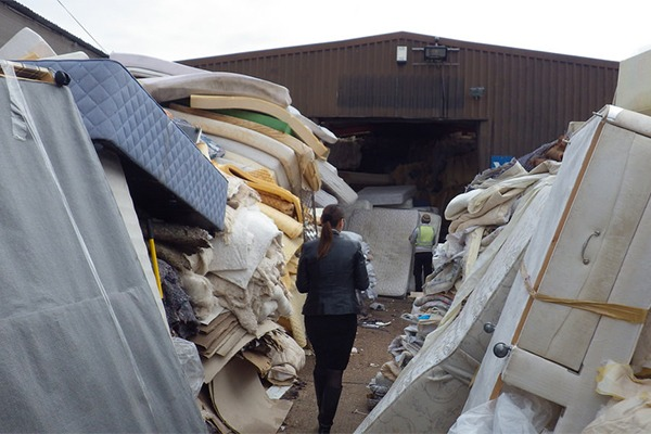 Environment Agency officers found a mountain of waste mattresses at Bertram's site in Smarden. Photograph: Environment Agency