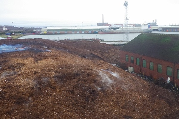 In 2016 South Wales Wood Recycling pleaded guilty to breaching its permit conditions and keeping controlled waste in a manner likely to cause pollution or harm to human health. Photograph: Natural Resources Wales