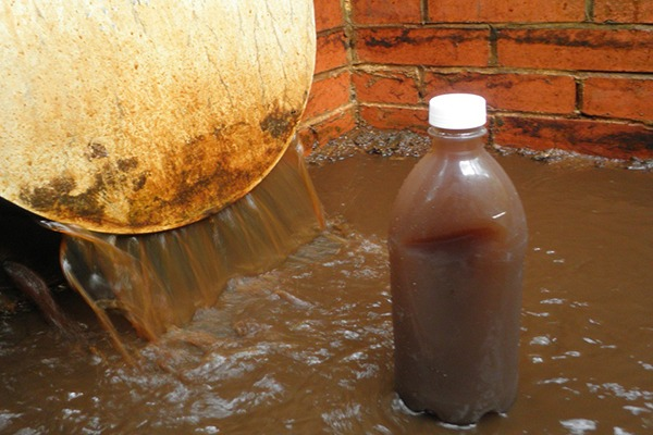 Silt-laden water was discharged into a tributary of the river Rother in Burwash. Photograph: Environment Agency