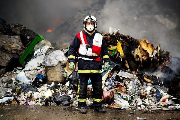 New fire tests aim to provide up-to-date data about the flammable properties of modern waste materials. Photograph: Greater Manchester Fire and Rescue Service