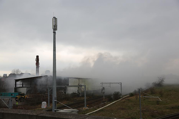 A fire  broke out in March 2014 at the Recovered Fuels Shipping site leading to the closure of a railway line. Photograph: Environment Agency