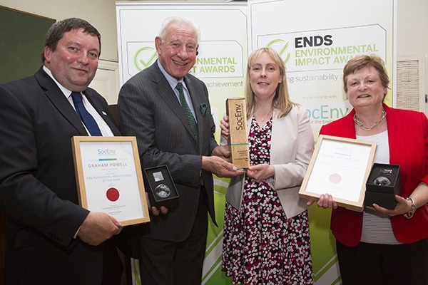 Professor Peter Matthews presents Society for the Environment's Professional of the Year award to Dr Phillippa Pearson (centre). Graham Powell and Elaine McFarlane were also shortlisted for the award