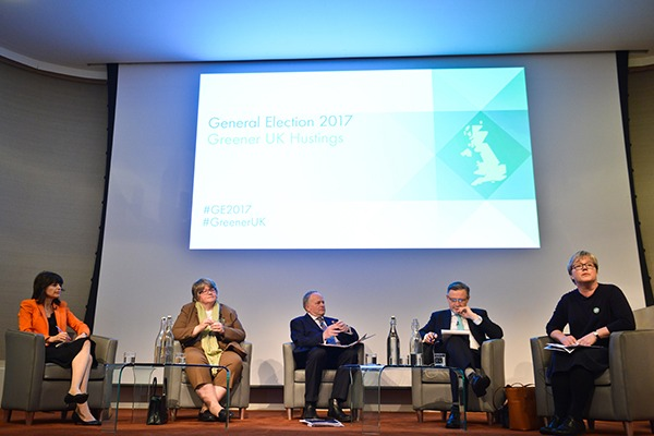 From the left: Baroness Parminter, Thérèse Coffey, chair Clive Anderson, Barry Gardiner and Caroline Russell, Photograph: Green Alliance