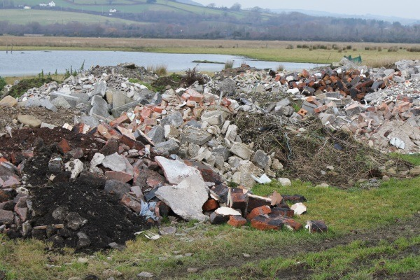 Williams dumped more than 18,000 tonnes of soil and demolition waste at Llwynadam Farm. Photograph: Natural Resources Wales