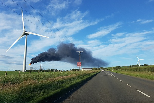 The flare from ExxonMobil's ethylene plant was visible for many kilometres. Photograph: Stephanie Harcus