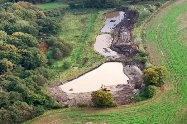 A Norfolk Rivers Trust wetland system at Northrepps, near Cromer. Photograph: Anglian Water