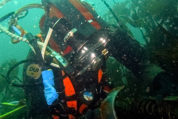 Diver inspecting cables at the European Marine Energy Centre tidal site in Orkney, Scotland. Picture: EMEC