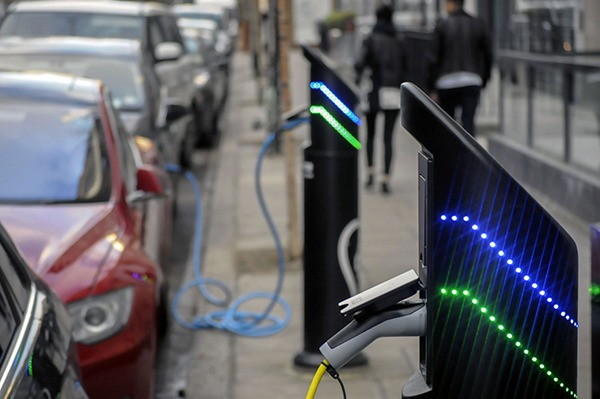 Electric vehicles could contribute stored power to manage increased variable renewables on the grid. Photograph: National Grid/ Howard Pugh/Getty Images