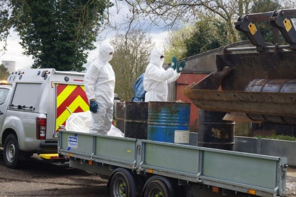 McRoberts illegally dumped twenty-three barrels filled with adhesive. Photograph: Environment Agency