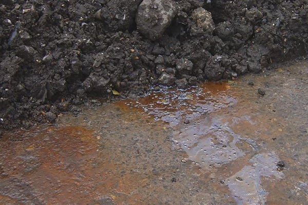 Leachate from a pile of waste stored at Avonmouth. Photograph: Environment Agency