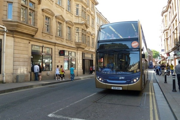 The buses going through Oxford's George Street would have to be zero-emission in 2025. The ZEZ would first cover a small part of the city, expanding outwards in 2025 and 2035. Photograph: Basher Eyre CC BY-SA 2.0