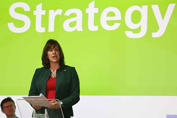 Climate change minister Claire Perry launched the strategy while BEIS secretary Greg Clark looks on. Photograph: Tom Reeve/ENDS