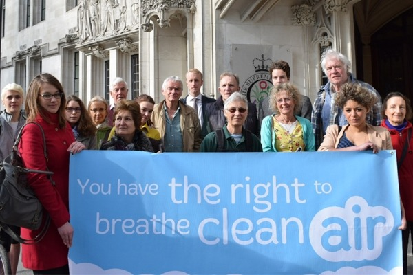 ClientEarth supporters gathered outside the Supreme Court following the first victory in  2015. Photograph: ClientEarth