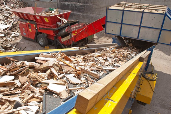 Wood being recycled.