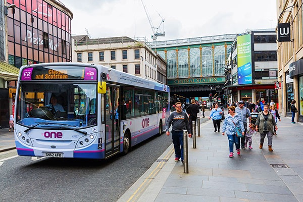 Glasgow's low emission zone, the first in Scotland, will apply first to buses. Photograph: Christian Mueller/123RF