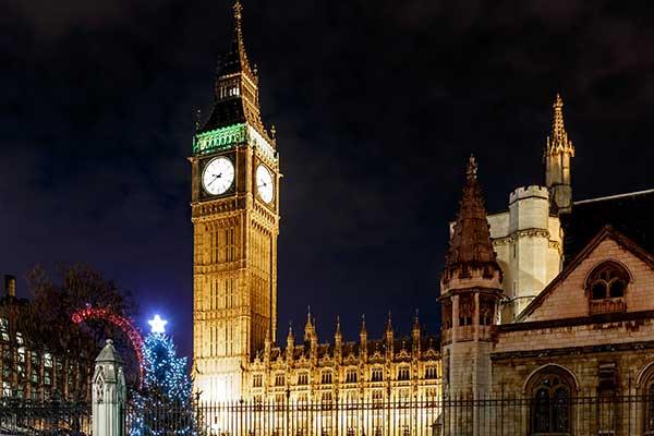 Big Ben with Christmas tree and London Eye in background. Photograph: Alexey Fedorenko/123RF