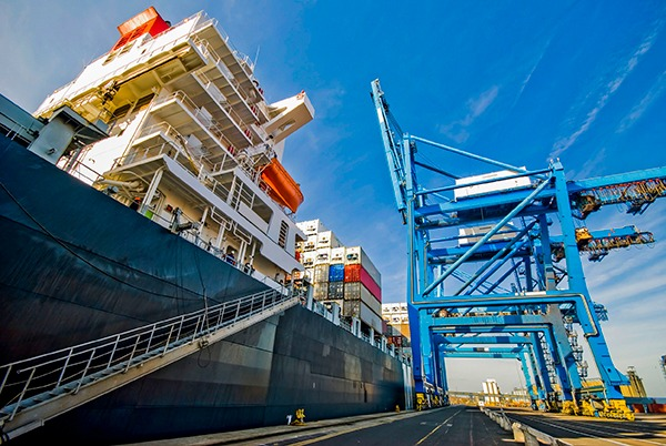 Close up of cargo ship in loading bay. Photograph: Don Victorio/123RF