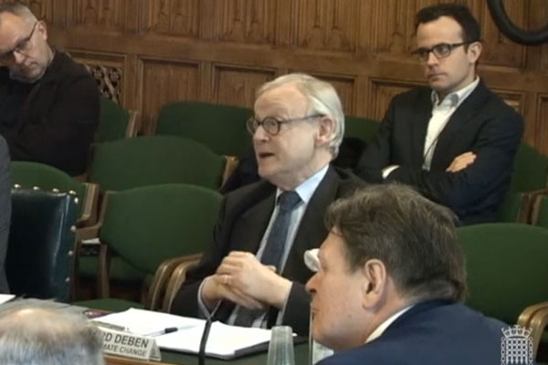 Lord Deben speaking at Commons Business, Energy and Industrial Strategy Committee. Photograph: Parliament TV